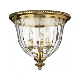 CAMBRIDGE flush mounted low ceiling light in solid brass with clear optic glass