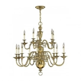 CAMBRIDGE large 15 light Flemish style chandelier in solid cast brass