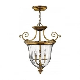 CAMBRIDGE small solid brass and glass inverted lantern style ceiling pendant