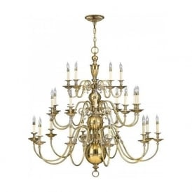 CAMBRIDGE very large 25 light Flemish style chandelier in solid cast brass
