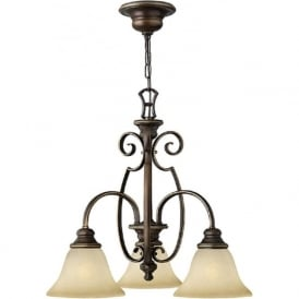 CELLO 3 arm traditional bronze ceiling light