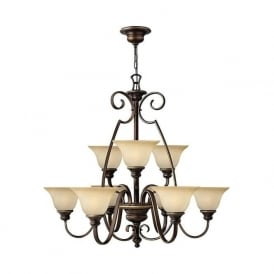 CELLO large 9 light traditional bronze chandelier