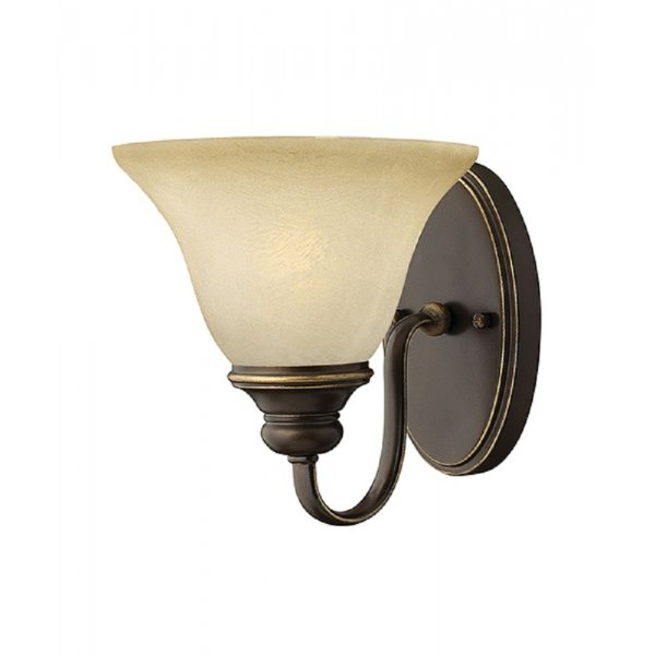 Antique Bronze Single Wall Light with Alabaster Glass Shade