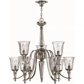 CHANDON classic silver sterling and crystal chandelier (9 lights)