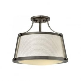 CHARLOTTE traditional antique nickel low ceiing light fits semi-flush