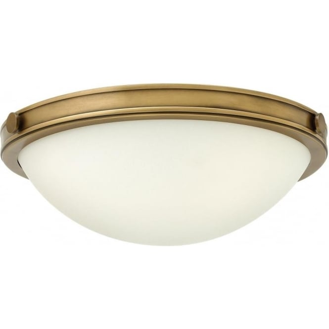 Small circular low ceiling light with opal glass and brass surround collier circular flush fitting low ceiling light in heritage brass small aloadofball Images