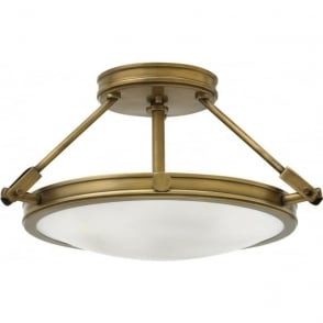 Lincoln American Lighting COLLIER semi-flush uplighter ceiling light in heritage brass - small