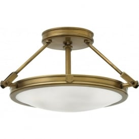 COLLIER semi-flush uplighter ceiling light in heritage brass - small
