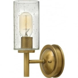 COLLIER traditional heritage brass wall light with seeded glass shade