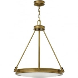 COLLIER traditional uplighter ceiling pendant in heritage brass