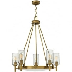 COLLIER traditional uplighter chandelier with 5 lights - heritage brass