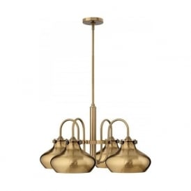 CONGRESS brushed caramel ceiling pedant light with 4 metal shades
