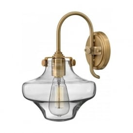 CONGRESS vintage retro style clear glass wall light, caramel frame