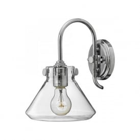 CONGRESS vintage retro style clear glass wall light, chrome frame