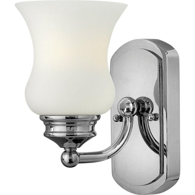Traditional Chrome Wall Lights : Traditional IP44 Chrome Bathroom Wall Light with Bell Glass Shade