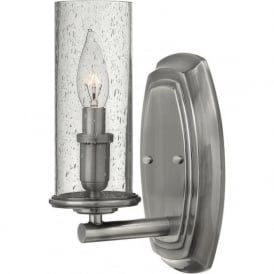 DAKOTA rustic chic nickel wall light with seeded glass shade