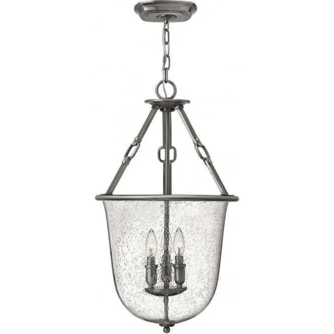 Dakota Seeded Glass Bell Jar Hall Lantern On Antique Nickel Frame
