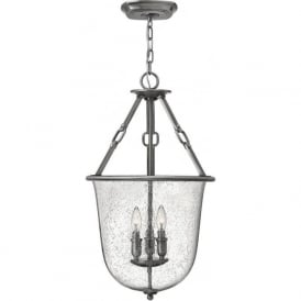 DAKOTA seeded glass bell jar hall lantern on antique nickel frame