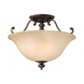 DUNHILL bronze semi-flush ceiling light with alabster glass shade
