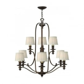 DUNHILL large 2 tier bronze chandelier with off-white pleated shades