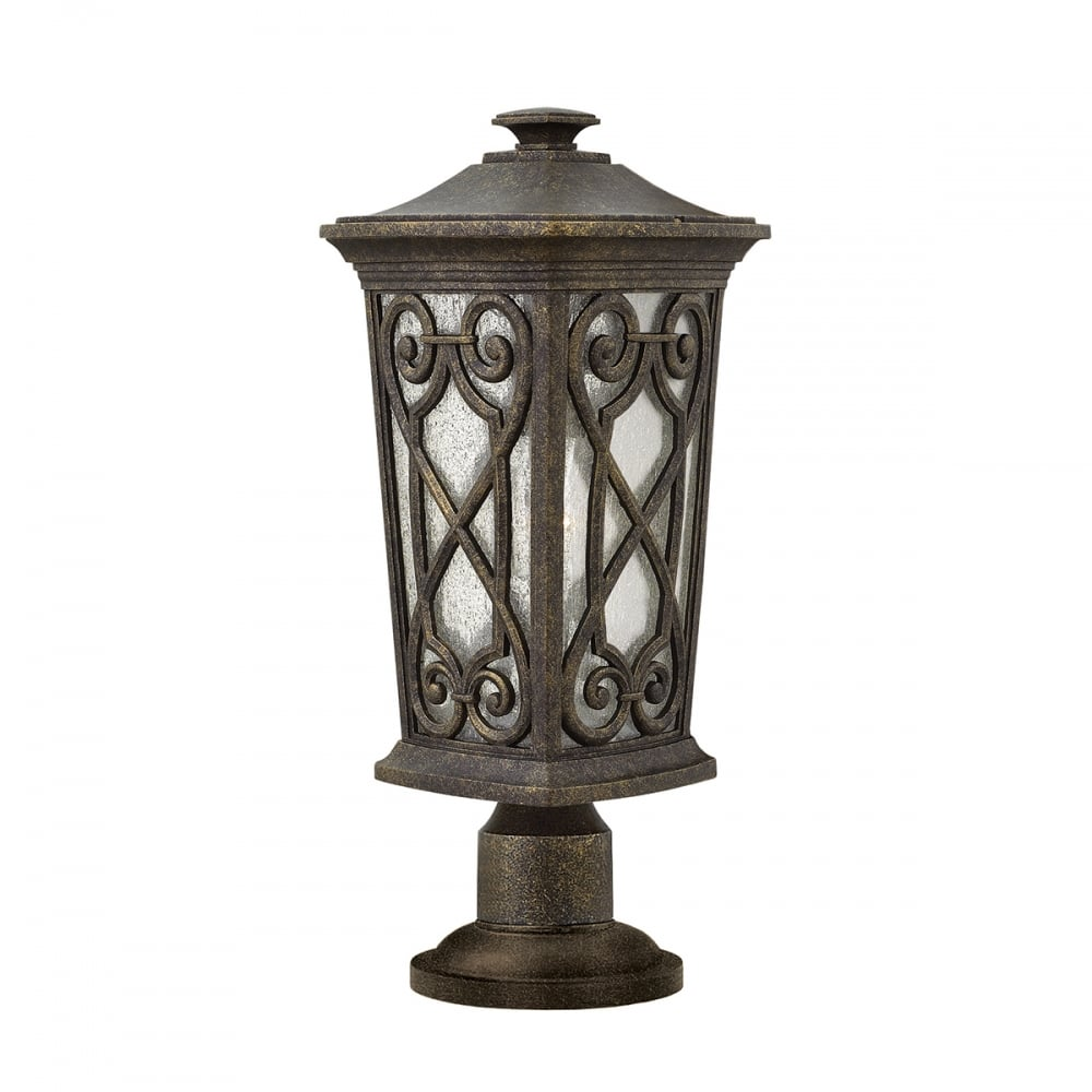 Parish Mini Pedestal Lantern: IP44 Gate Post Pedestal Lantern In Ornate Victorian Gothic