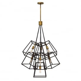FULTON cluster of 7 ceiling pendants with open bronze cage shades