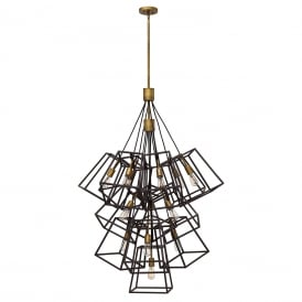 FULTON large 13 light cluster of ceiling pendants with open bronze cage shades