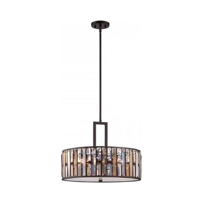 Modern chandelier style ceiling pendant bronze drum shade with gemma ceiling pendant light with amber and crystal prisms bronze frame mozeypictures Gallery