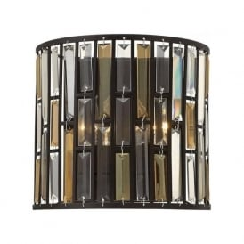 GEMMA flush fitting bronze wall light with amber and crystal prisms
