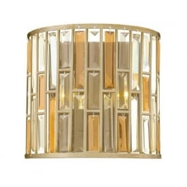GEMMA flush fitting silver leaf wall light with amber and crystal prisms