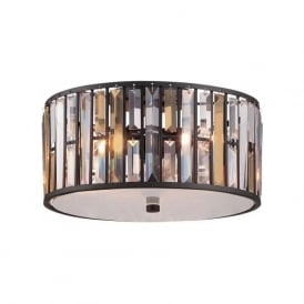 GEMMA low ceiling light with amber and clear crystal prisms - bronze frame