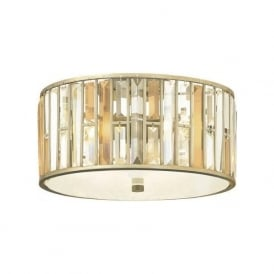 GEMMA low ceiling light with amber and clear crystal prisms - silver leaf frame