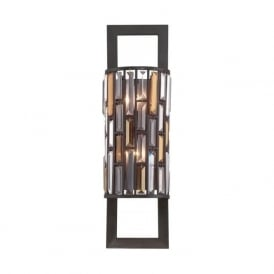 GEMMA tall bronze wall light with amber and crystal prisms