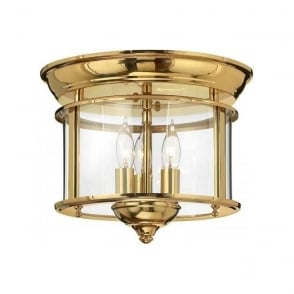 Pewter flush fitting hall ceiling light with clear glass panels gentry flush mounted hall ceiling light solid brass aloadofball Choice Image