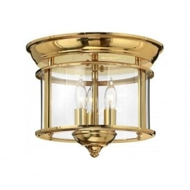 GENTRY flush mounted hall ceiling light - solid brass