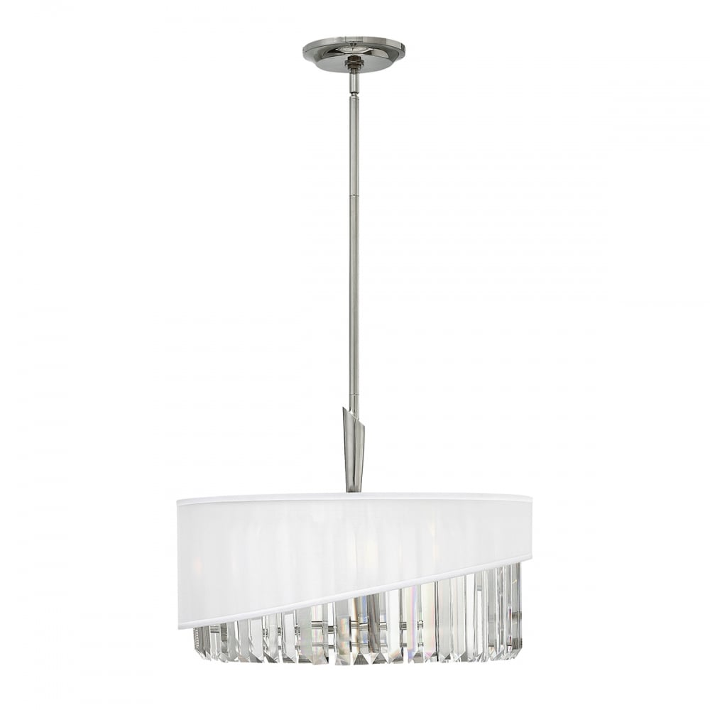 drum pendant ceiling light with white organza shade and crystal rods