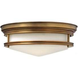 HADLEY retro style flush fitting low ceiling light (brushed bronze)