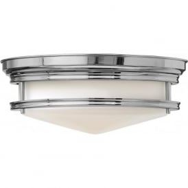 HADLEY retro style flush fitting low ceiling light (chrome)