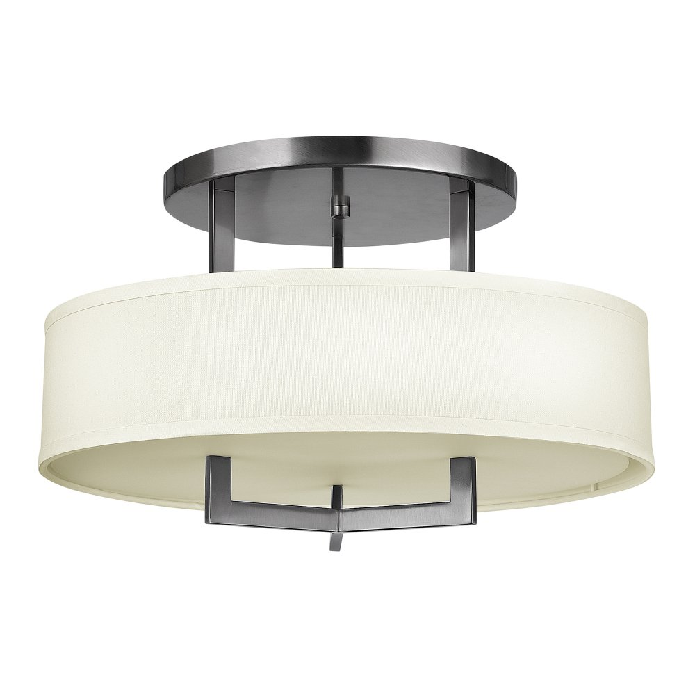 Deco Style Semi-Flush Ceiling Light, Nickel Frame with ...