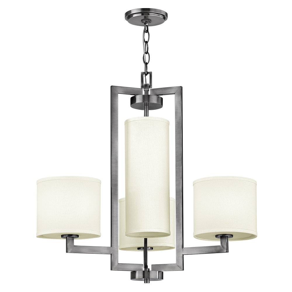 Hamptons Style Lighting: Large Art Deco Style Modern Chandelier In Nickel With Off White Shades
