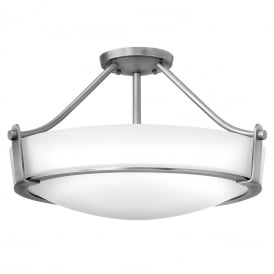 HATHAWAY semi-flush fitting opal glass ceiling light with antique nickel frame - medium