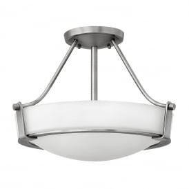 HATHAWAY semi-flush fitting opal glass ceiling light with antique nickel frame - small