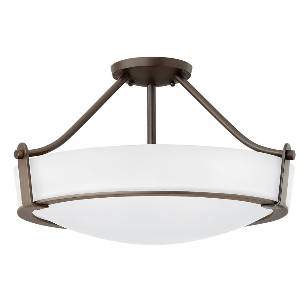 Semi flush ceiling light with opal glass shade and bronze surround hathaway semi flush fitting opal glass ceiling light with bronze frame medium aloadofball Images