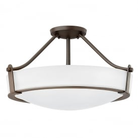 HATHAWAY semi-flush fitting opal glass ceiling light with bronze frame - medium