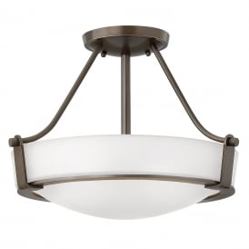 HATHAWAY semi-flush fitting opal glass ceiling light with bronze frame - small