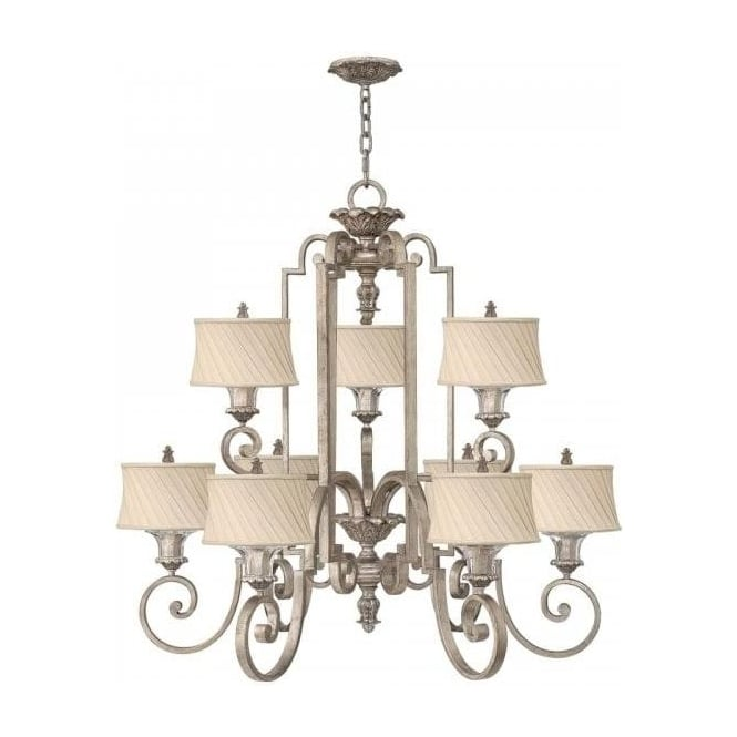 Edwardian 2 tier chandelier with 9 lights on romantic silver leaf kingsley large edwardian silver leaf chandelier with ivory shades mozeypictures Image collections