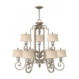 KINGSLEY large Edwardian silver leaf chandelier with ivory shades