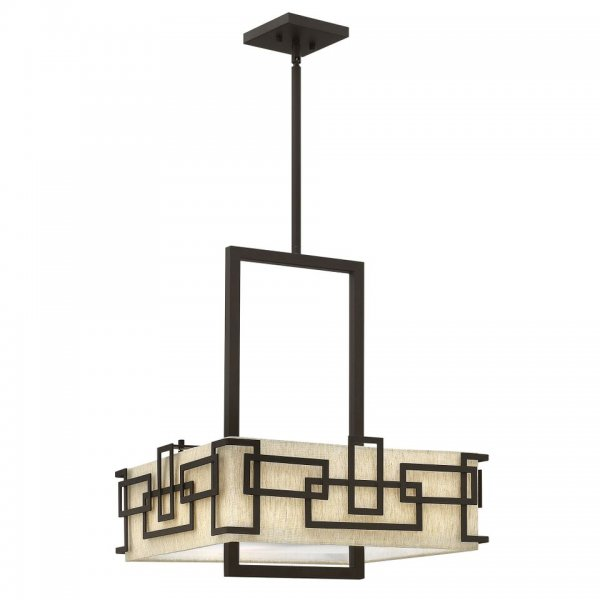 Art Deco Square Ceiling Pendant Light Oatmeal Shade And