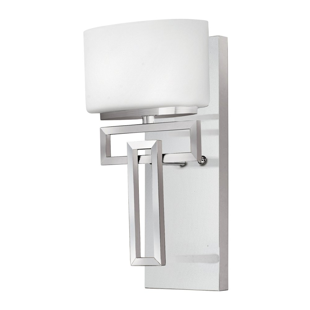 Bathroom Lights Art Deco: IP44 Art Deco Bathroom Wall Light In Chrome With Opal