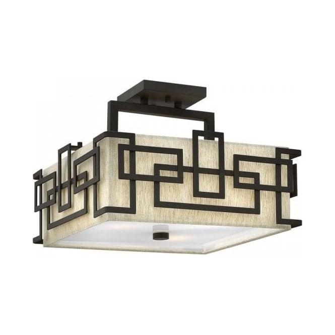 Art deco square ceiling light for low ceilings bronze geometric frame lanza semi flush art deco square low ceiling light mozeypictures Choice Image